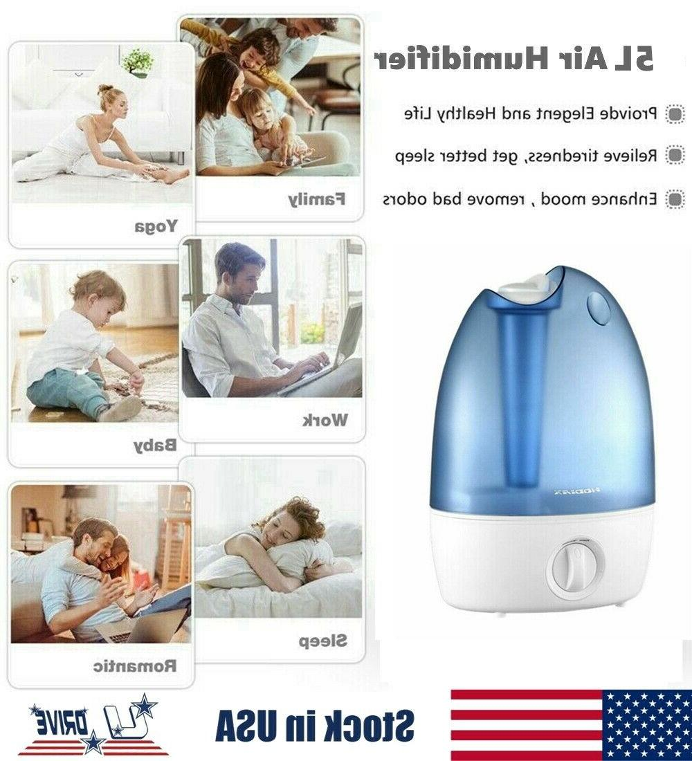5L Large Tank Humidifier Cool Diffuser Atomizer Room Office