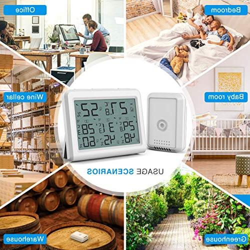 AMIR Indoor 3 Thermometer 3 Humidity Monitor Wireless LCD Room and Humidity Gauge for Home,