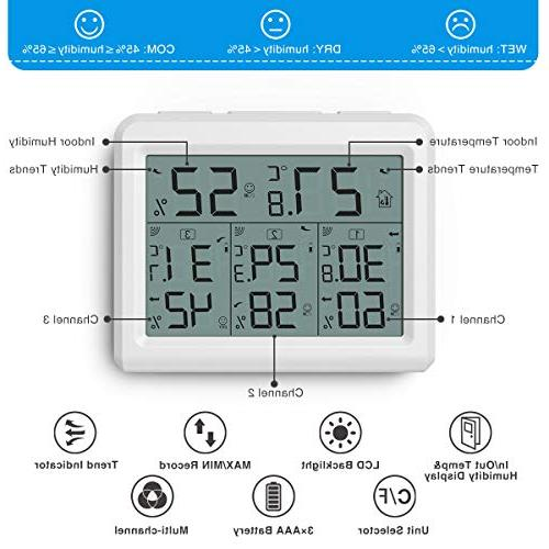 AMIR Indoor 3 Thermometer with 3 Humidity Wireless with LCD Display, Thermometer and Home,