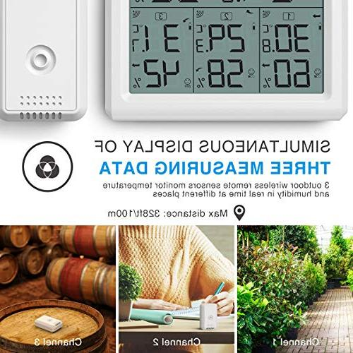 AMIR Outdoor Thermometer, 3 Digital Thermometer 3 Humidity with LCD Room Thermometer and Humidity Gauge for Home,