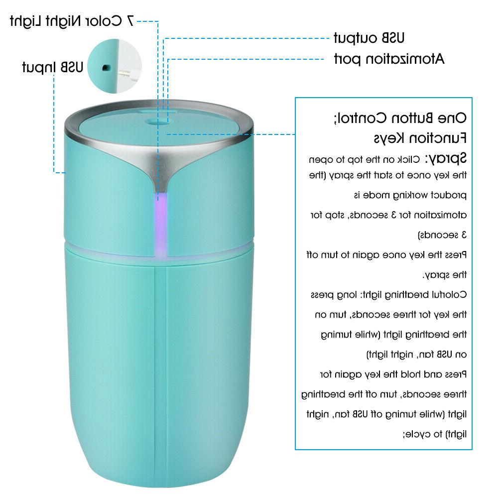 Portable LED Light Air Humidifier Aroma Home